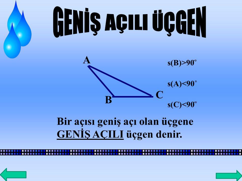 A BC Dik kenar Hipotenüs Bir iç açısının ölçüsü 90˚ olan üçgene DİK ÜÇGEN denir.