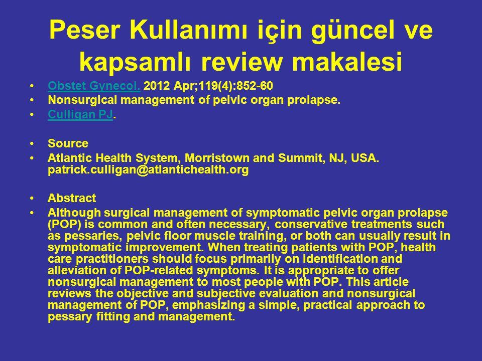 Peser Kullanımı için güncel ve kapsamlı review makalesi Obstet Gynecol.