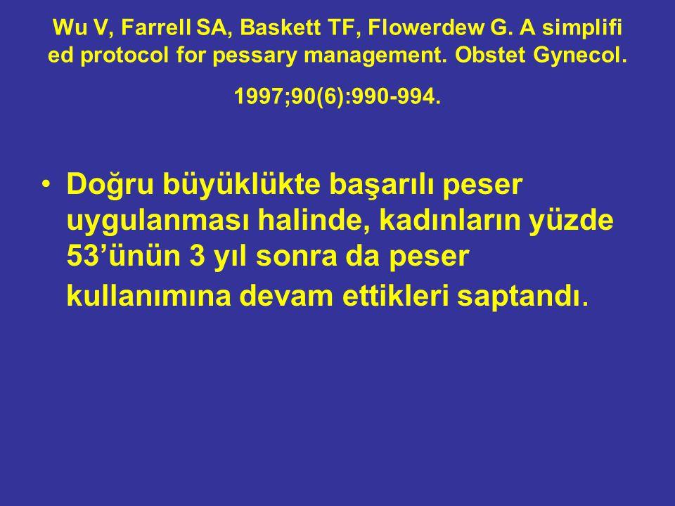Wu V, Farrell SA, Baskett TF, Flowerdew G. A simplifi ed protocol for pessary management. Obstet Gynecol. 1997;90(6):990-994. Doğru büyüklükte başarıl