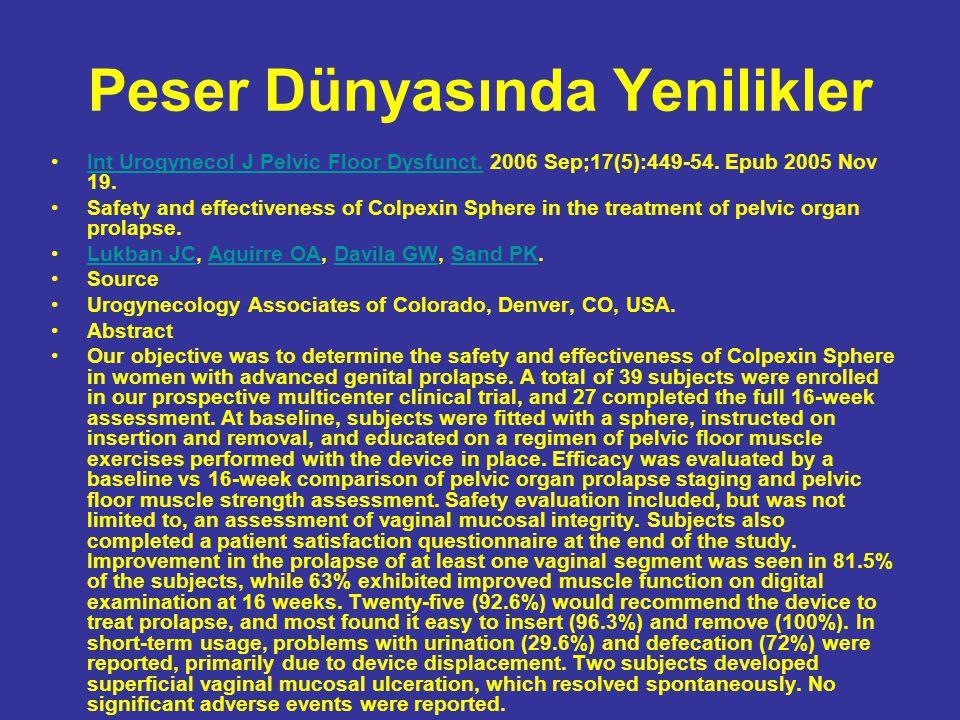 Peser Dünyasında Yenilikler Int Urogynecol J Pelvic Floor Dysfunct. 2006 Sep;17(5):449-54. Epub 2005 Nov 19.Int Urogynecol J Pelvic Floor Dysfunct. Sa