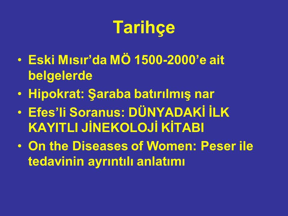 Tarihçe Eski Mısır'da MÖ 1500-2000'e ait belgelerde Hipokrat: Şaraba batırılmış nar Efes'li Soranus: DÜNYADAKİ İLK KAYITLI JİNEKOLOJİ KİTABI On the Di