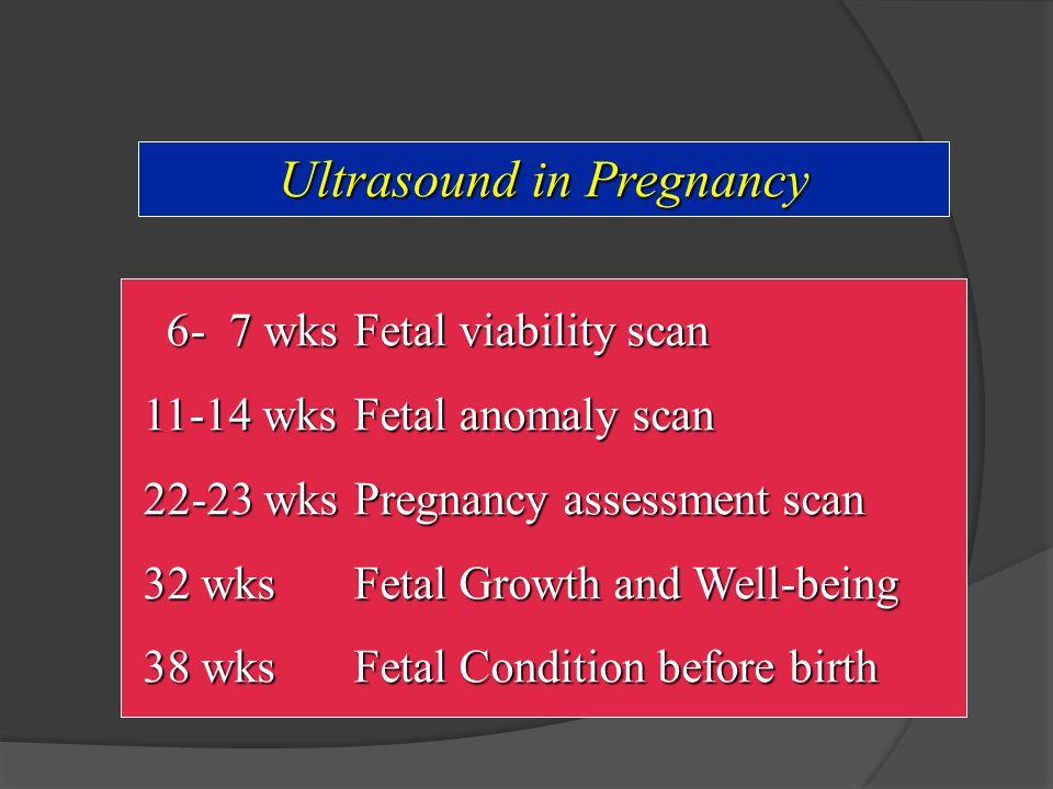 Ultrasound in Pregnancy 6- 7 wksFetal viability scan 6- 7 wksFetal viability scan 11-14 wksFetal anomaly scan 22-23 wksPregnancy assessment scan 32 wksFetal Growth and Well-being 38 wksFetal Condition before birth