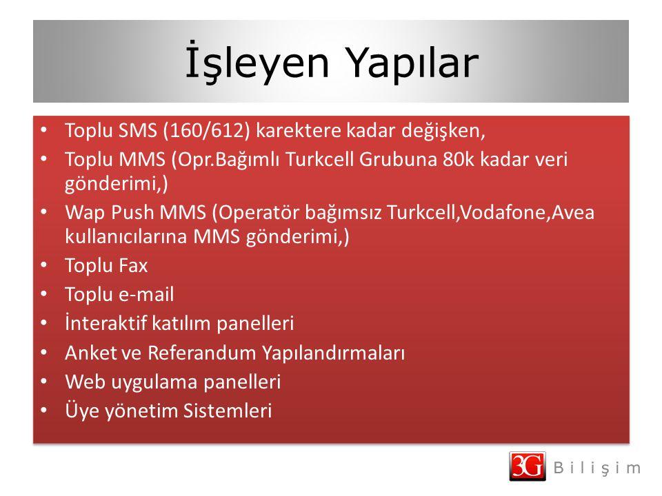 İşleyen Yapılar Toplu SMS (160/612) karektere kadar değişken, Toplu MMS (Opr.Bağımlı Turkcell Grubuna 80k kadar veri gönderimi,) Wap Push MMS (Operatör bağımsız Turkcell,Vodafone,Avea kullanıcılarına MMS gönderimi,) Toplu Fax Toplu e-mail İnteraktif katılım panelleri Anket ve Referandum Yapılandırmaları Web uygulama panelleri Üye yönetim Sistemleri Toplu SMS (160/612) karektere kadar değişken, Toplu MMS (Opr.Bağımlı Turkcell Grubuna 80k kadar veri gönderimi,) Wap Push MMS (Operatör bağımsız Turkcell,Vodafone,Avea kullanıcılarına MMS gönderimi,) Toplu Fax Toplu e-mail İnteraktif katılım panelleri Anket ve Referandum Yapılandırmaları Web uygulama panelleri Üye yönetim Sistemleri
