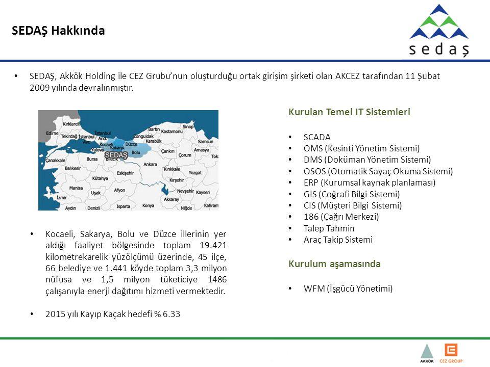 SEDAŞ Hakkında Kocaeli, Sakarya, Bolu ve Düzce illerinin yer aldığı faaliyet bölgesinde toplam 19.421 kilometrekarelik yüzölçümü üzerinde, 45 ilçe, 66 belediye ve 1.441 köyde toplam 3,3 milyon nüfusa ve 1,5 milyon tüketiciye 1486 çalışanıyla enerji dağıtımı hizmeti vermektedir.
