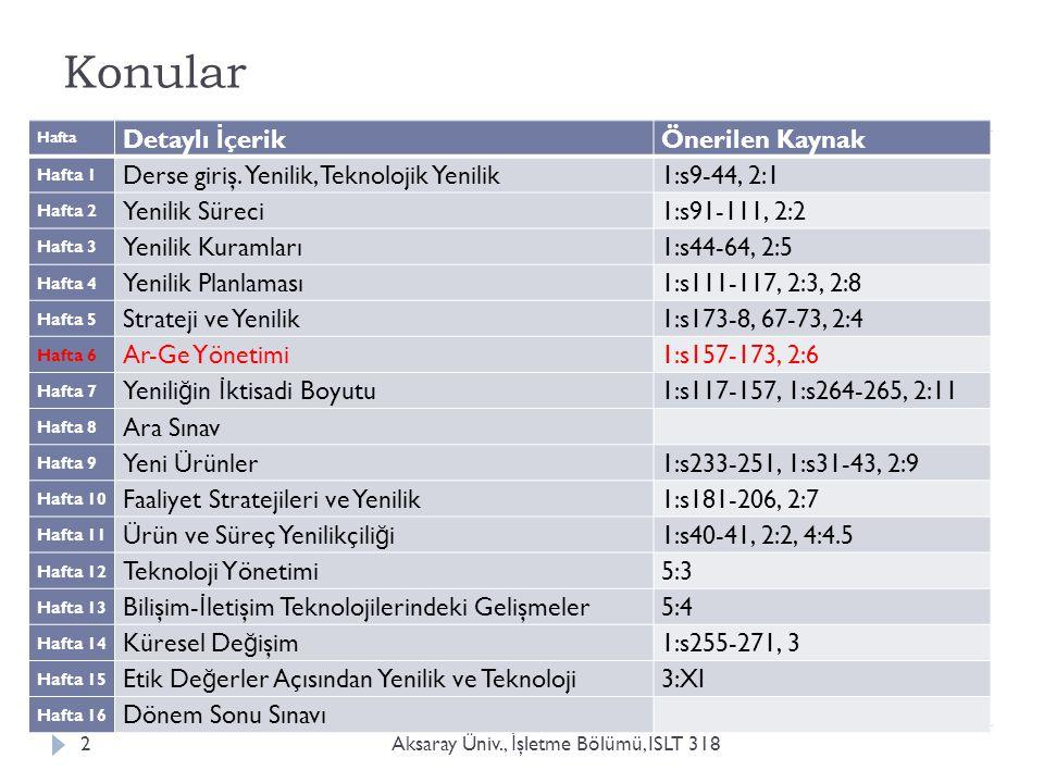 Özet İçerik: Ar-Ge Yönetimi Aksaray Üniv., İ şletme Bölümü, ISLT 3183  Yenili ğ in kaynakları, Ar-Ge ve yönetim ilişkisi  Yenili ğ i destekleyen başarılı bir Ar-Ge için yönetim nasıl olmalıdır?