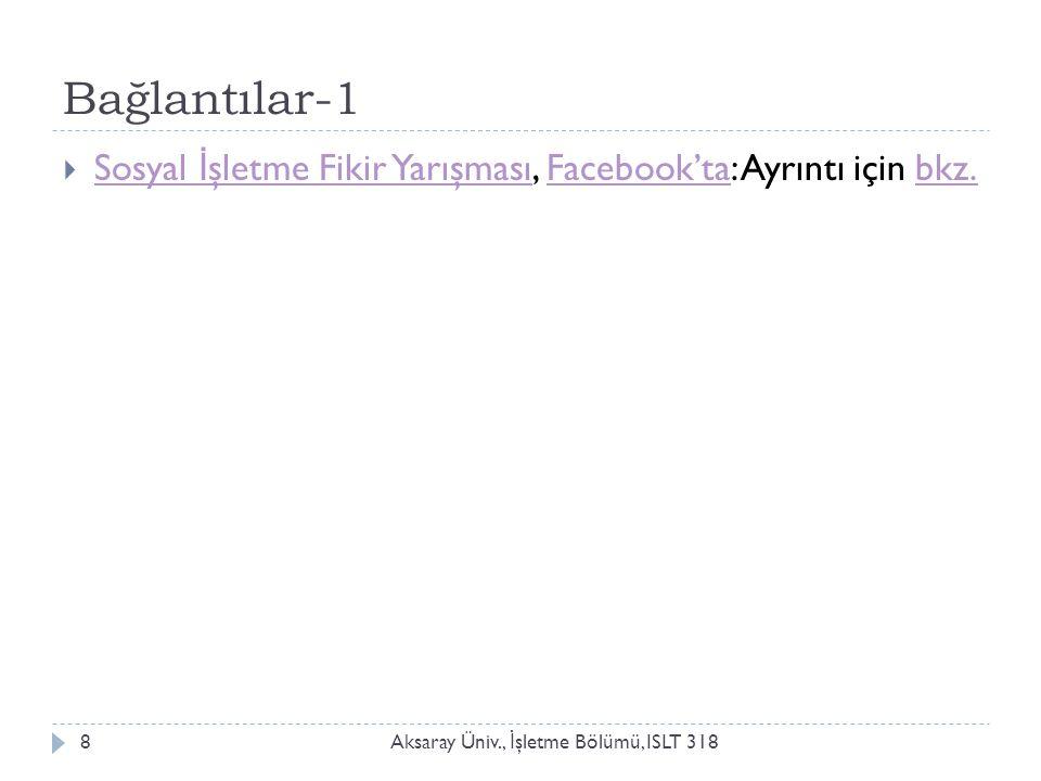 Bağlantılar-1 Aksaray Üniv., İ şletme Bölümü, ISLT 3188  Sosyal İ şletme Fikir Yarışması, Facebook'ta: Ayrıntı için bkz. Sosyal İ şletme Fikir Yarışm