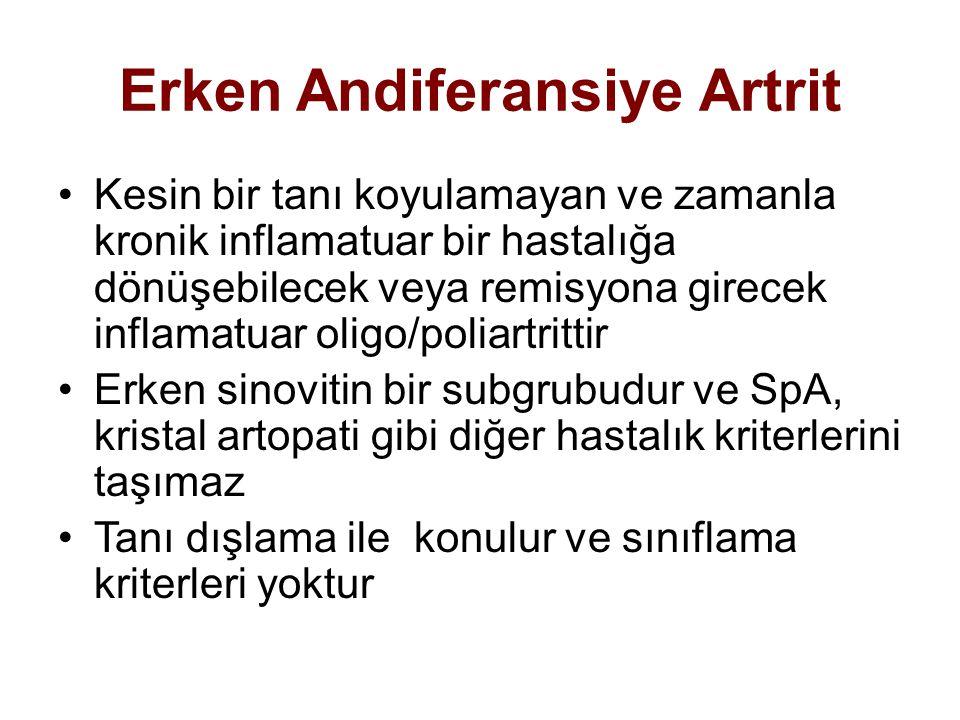 Erken Andiferansiye Artrit Kesin bir tanı koyulamayan ve zamanla kronik inflamatuar bir hastalığa dönüşebilecek veya remisyona girecek inflamatuar oli