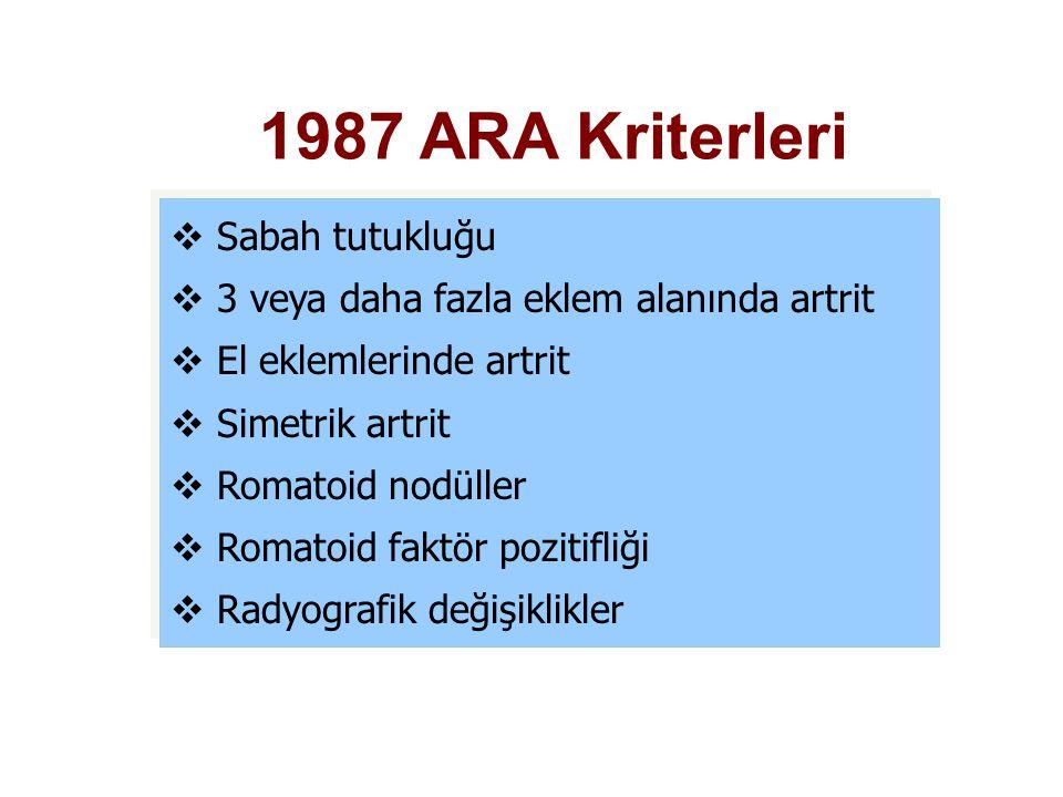 1987 ARA Kriterleri  Sabah tutukluğu  3 veya daha fazla eklem alanında artrit  El eklemlerinde artrit  Simetrik artrit  Romatoid nodüller  Romat