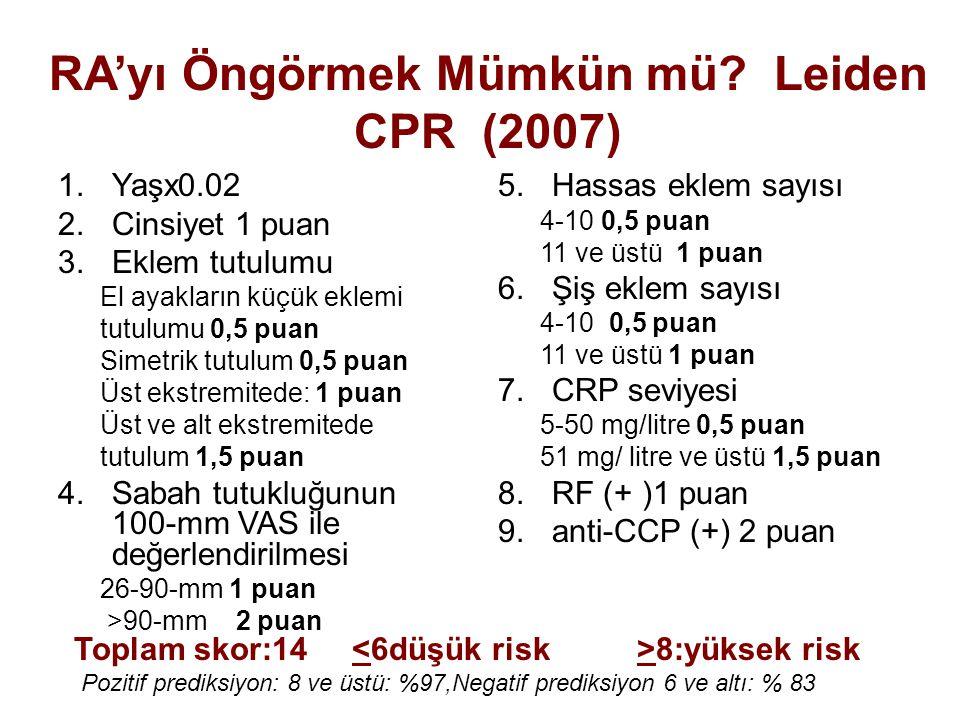 RA'yı Öngörmek Mümkün mü? Leiden CPR (2007) 1.Yaşx0.02 2.Cinsiyet 1 puan 3.Eklem tutulumu El ayakların küçük eklemi tutulumu 0,5 puan Simetrik tutulum