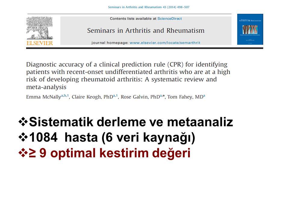  Sistematik derleme ve metaanaliz  1084 hasta (6 veri kaynağı)  ≥ 9 optimal kestirim değeri