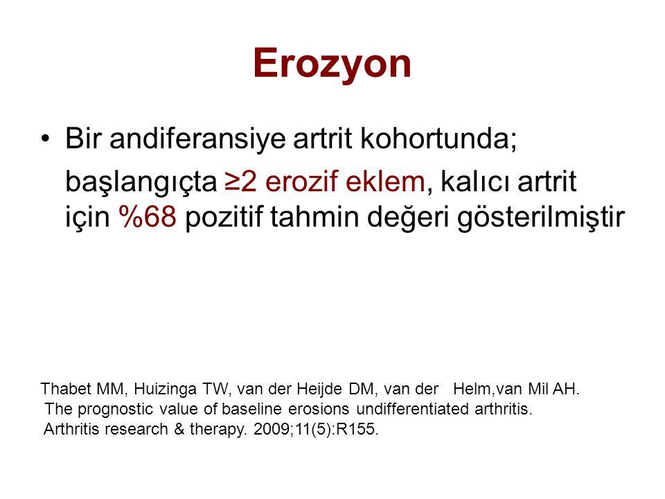 Erozyon Bir andiferansiye artrit kohortunda; başlangıçta ≥2 erozif eklem, kalıcı artrit için %68 pozitif tahmin değeri gösterilmiştir Thabet MM, Huizi