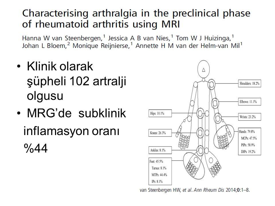 Klinik olarak şüpheli 102 artralji olgusu MRG'de subklinik inflamasyon oranı %44