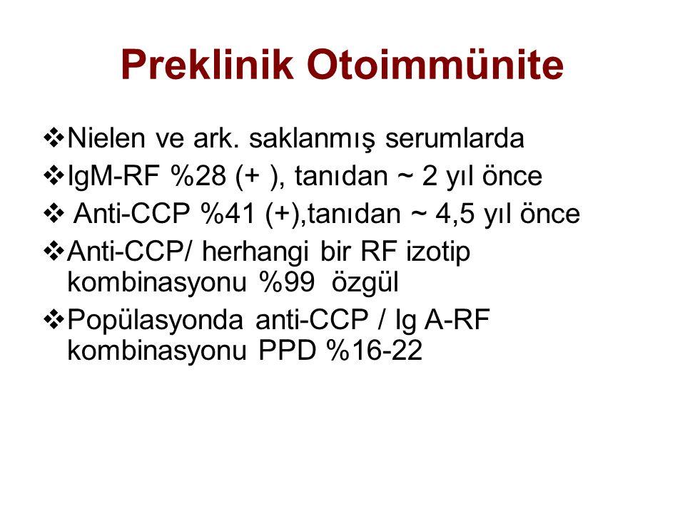 Preklinik Otoimmünite  Nielen ve ark. saklanmış serumlarda  IgM-RF %28 (+ ), tanıdan ~ 2 yıl önce  Anti-CCP %41 (+),tanıdan ~ 4,5 yıl önce  Anti-C