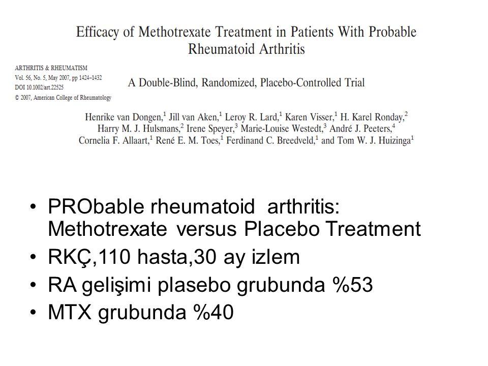PRObable rheumatoid arthritis: Methotrexate versus Placebo Treatment RKÇ,110 hasta,30 ay izlem RA gelişimi plasebo grubunda %53 MTX grubunda %40