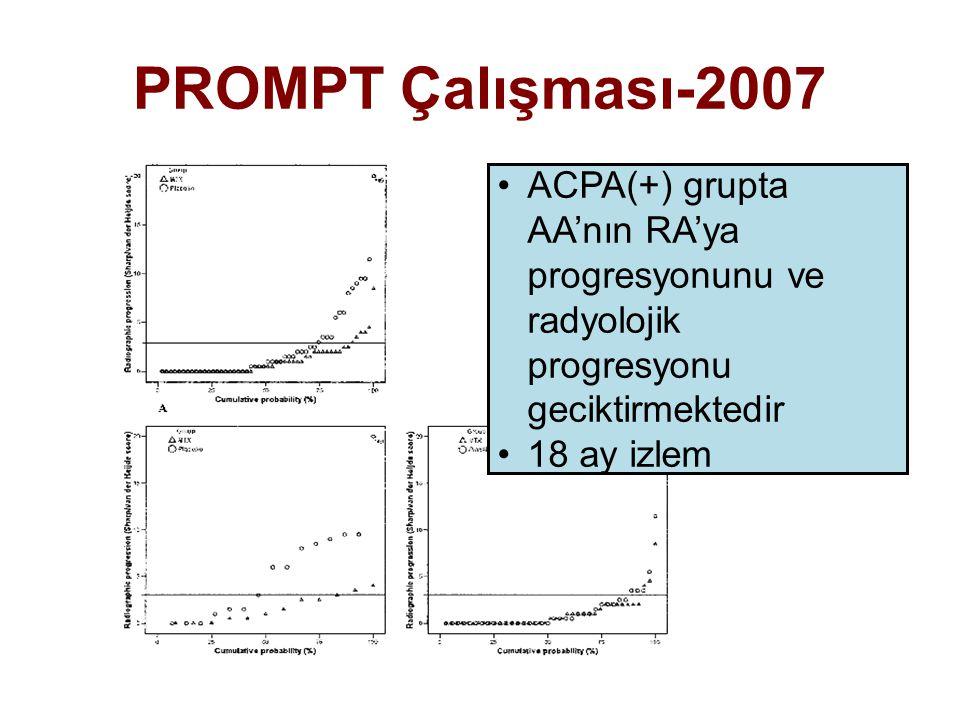 ACPA(+) grupta AA'nın RA'ya progresyonunu ve radyolojik progresyonu geciktirmektedir 18 ay izlem