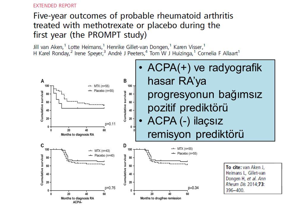 ACPA(+) ve radyografik hasar RA'ya progresyonun bağımsız pozitif prediktörü ACPA (-) ilaçsız remisyon prediktörü