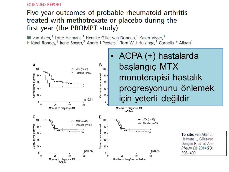 ACPA (+) hastalarda başlangıç MTX monoterapisi hastalık progresyonunu önlemek için yeterli değildir