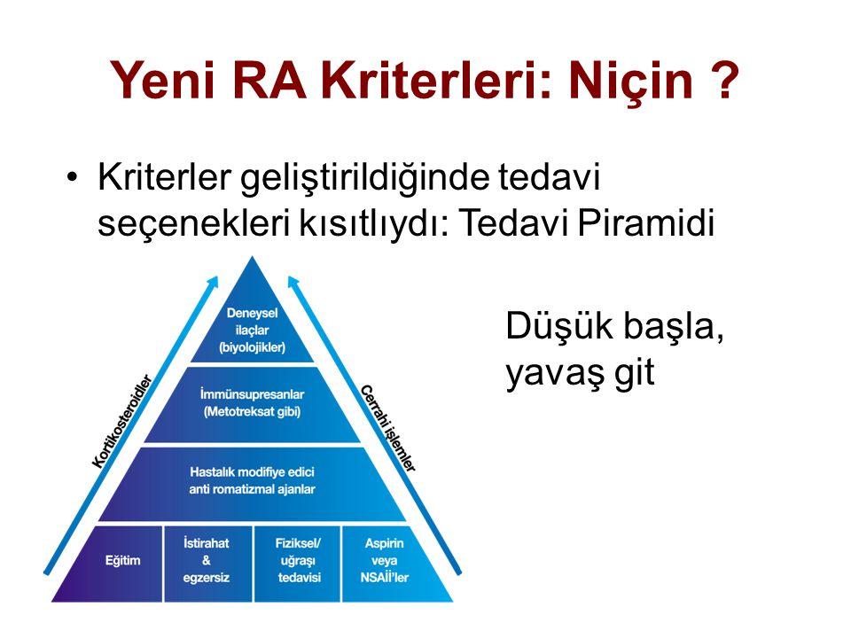 Yeni RA Kriterleri: Niçin ? Kriterler geliştirildiğinde tedavi seçenekleri kısıtlıydı: Tedavi Piramidi Düşük başla, yavaş git