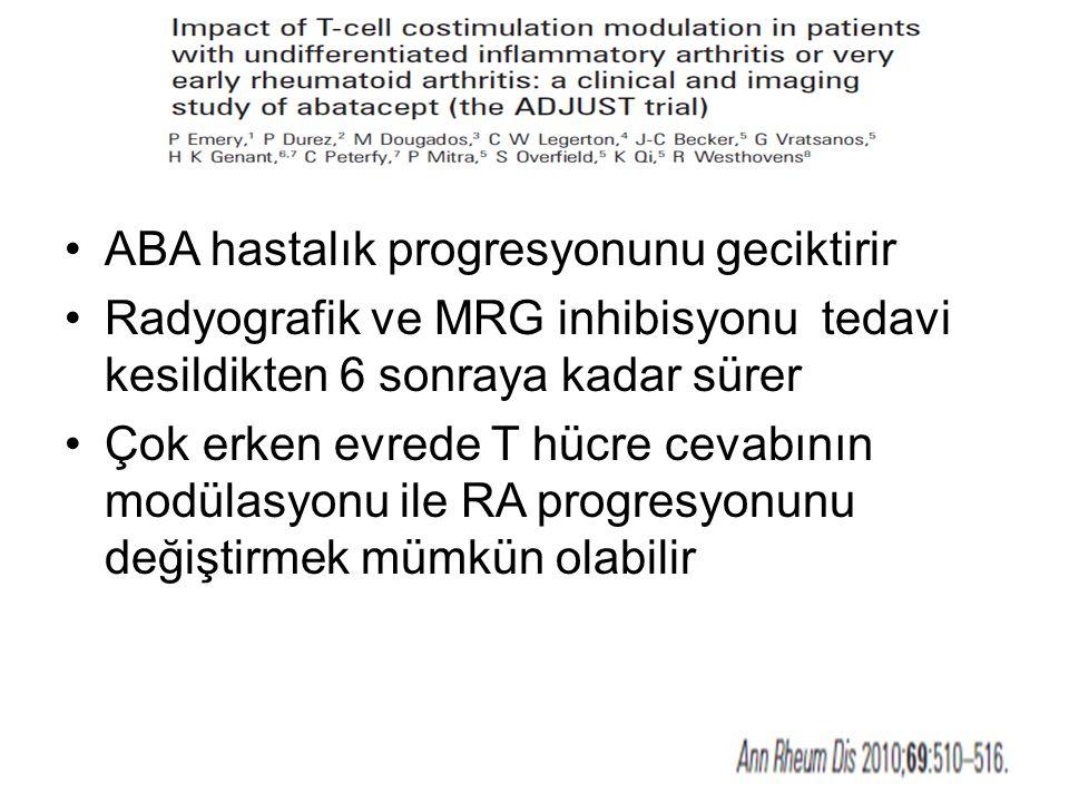 ABA hastalık progresyonunu geciktirir Radyografik ve MRG inhibisyonu tedavi kesildikten 6 sonraya kadar sürer Çok erken evrede T hücre cevabının modül