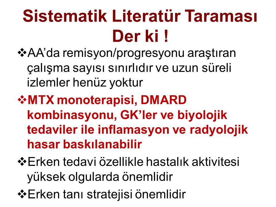 Sistematik Literatür Taraması Der ki !  AA'da remisyon/progresyonu araştıran çalışma sayısı sınırlıdır ve uzun süreli izlemler henüz yoktur  MTX mon