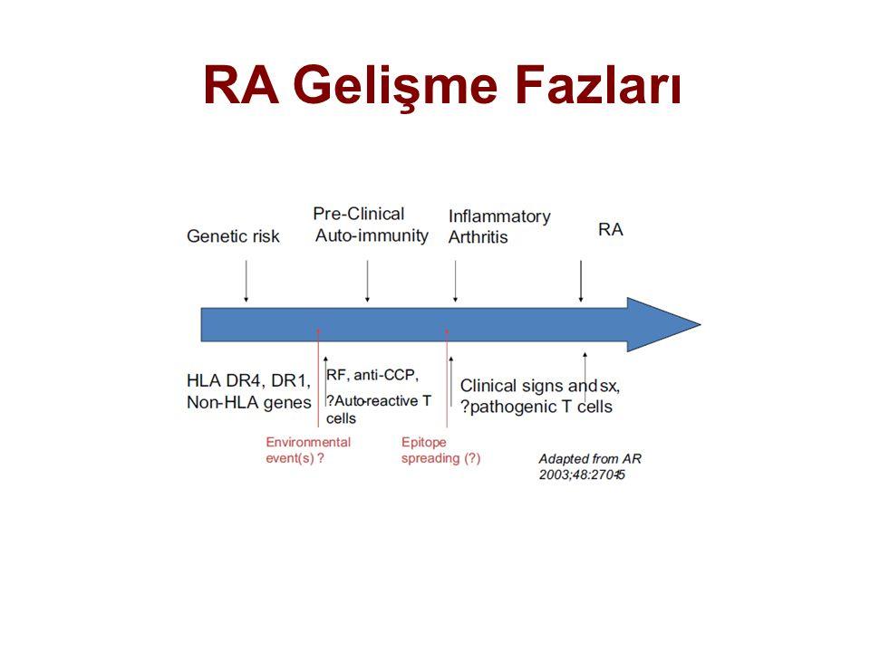 Genetik yatkınlığı olan bireyler Otoimmünite gelişme dönemi Sinovitin ortaya çıktığı dönem Semptom yok RF, CCP, Sitokinler, otoreaktif T ve B hücreleri Pre-klinik dönemi Klinik