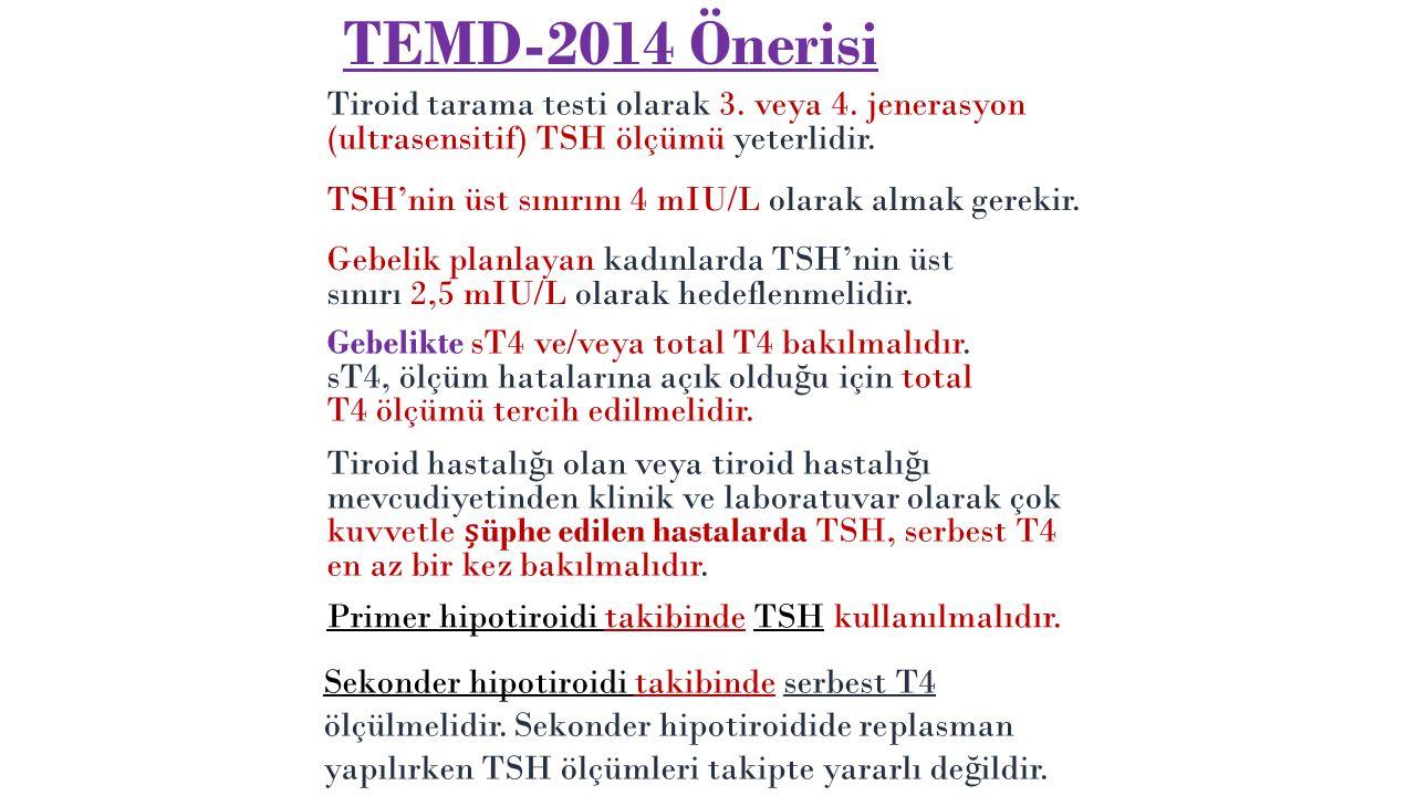 Tarama 35 ya üstü kiilerde her 5 yılda bir TSH ölçülmelidir. Tiroid fonksiyonlarını de ğ erlendirmede ilk yapılacak testler TSH ve sT4 olmalıdır Yaa g