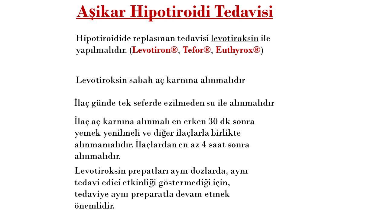 Hipotiroidi A ş ikar hipotiroidiTSH >4.0 mIU/mL, sT4 dü ş ük Subklinik hipotiroidiTSH >4.0 mIU/mL, sT4 Normal ÖtiroidTSH 0.5-4.0 mIU/mL, sT4 Normal