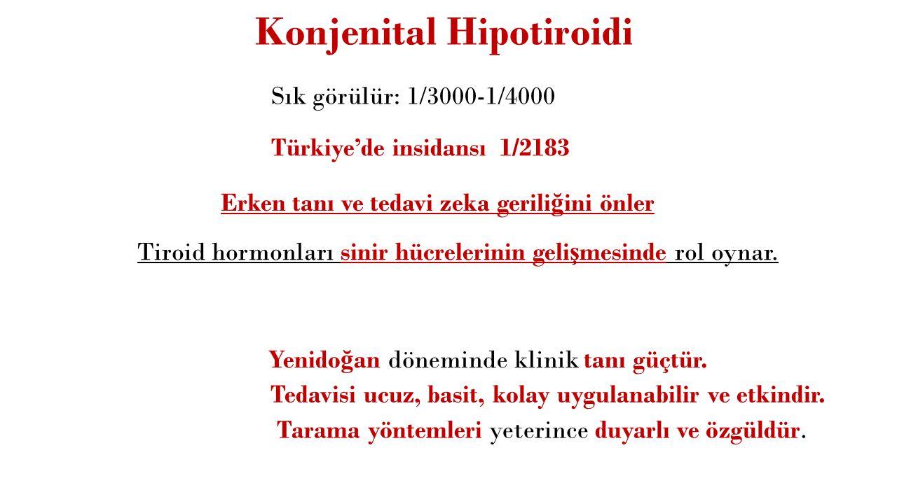 Tedaviye Cevapsızlık (TSH yüksek) TSH yüksek, sT4 yüksek: Düzensiz ilaç kullanan hastanın testten hemen önce tiroksin alması Yetersiz levotiroksin replasmanı Çölyak hastalı ğ ı Levotiroksin ile birlikte kolestiramin, demir, aluminyum hidroksit, kalsiyum suplementasyonu alınması Hızlanmı ş hormon metabolizması (fenitoin, karbamazepin, rifampisin) Tabletleri kıramayıp ezmek Levotiroksin tedavisi yapılırken 6 haftadan önce TSH ölçmek