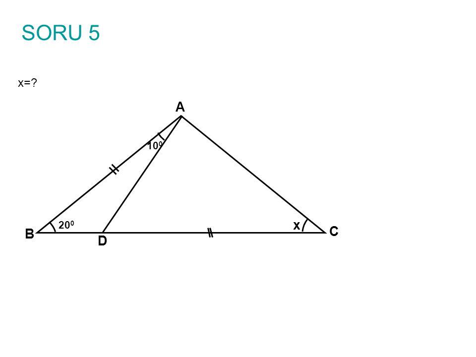 ÇÖZÜM A B C D x 10 0 20 0 BDE eşkenar üçgeni oluşturalım E 60 0