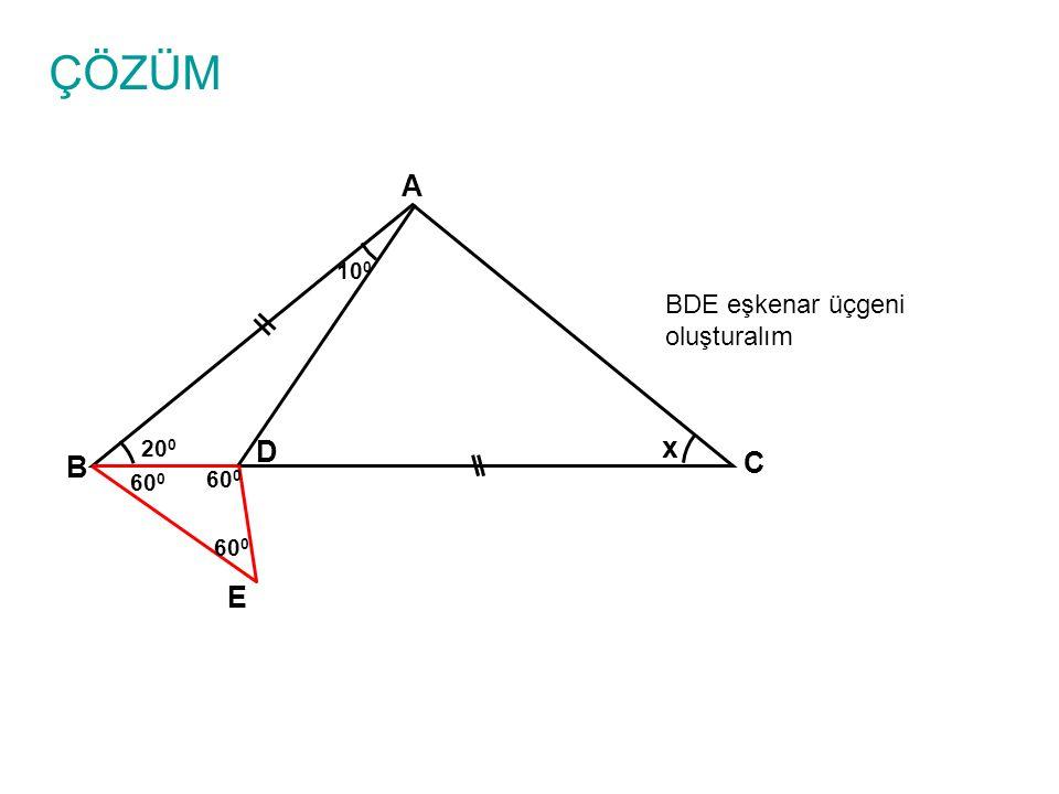 ÇÖZÜM A B C D x 10 0 20 0 m(EDC)=120 0 m(ADC)=30 0 m(ADE)=150 0 olur E 60 0 150 0 30 0 120 0