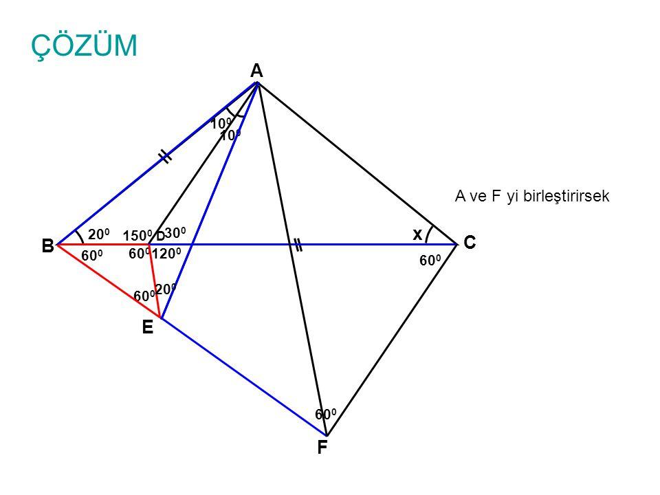 ÇÖZÜM A ve F yi birleştirirsek A B C D x 10 0 20 0 E 60 0 150 0 30 0 120 0 10 0 60 0 F 20 0