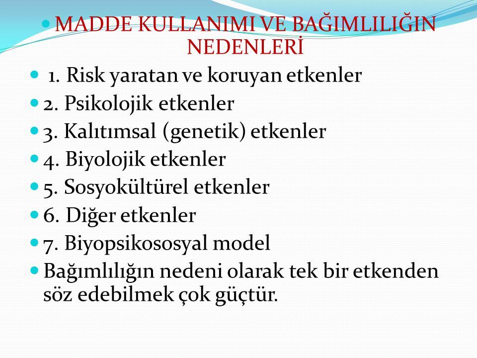 MADDE KULLANIMI VE BAĞIMLILIĞIN NEDENLERİ 1. Risk yaratan ve koruyan etkenler 2. Psikolojik etkenler 3. Kalıtımsal (genetik) etkenler 4. Biyolojik etk