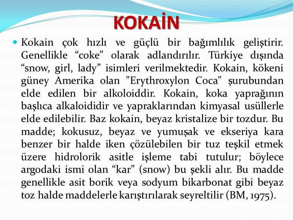 """KOKAİN Kokain çok hızlı ve güçlü bir bağımlılık geliştirir. Genellikle """"coke"""" olarak adlandırılır. Türkiye dışında """"snow, girl, lady"""" isimleri verilme"""