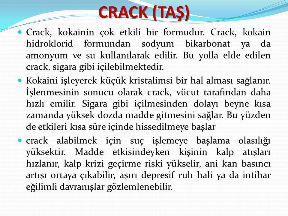 CRACK (TAŞ) Crack, kokainin çok etkili bir formudur. Crack, kokain hidroklorid formundan sodyum bikarbonat ya da amonyum ve su kullanılarak edilir. Bu