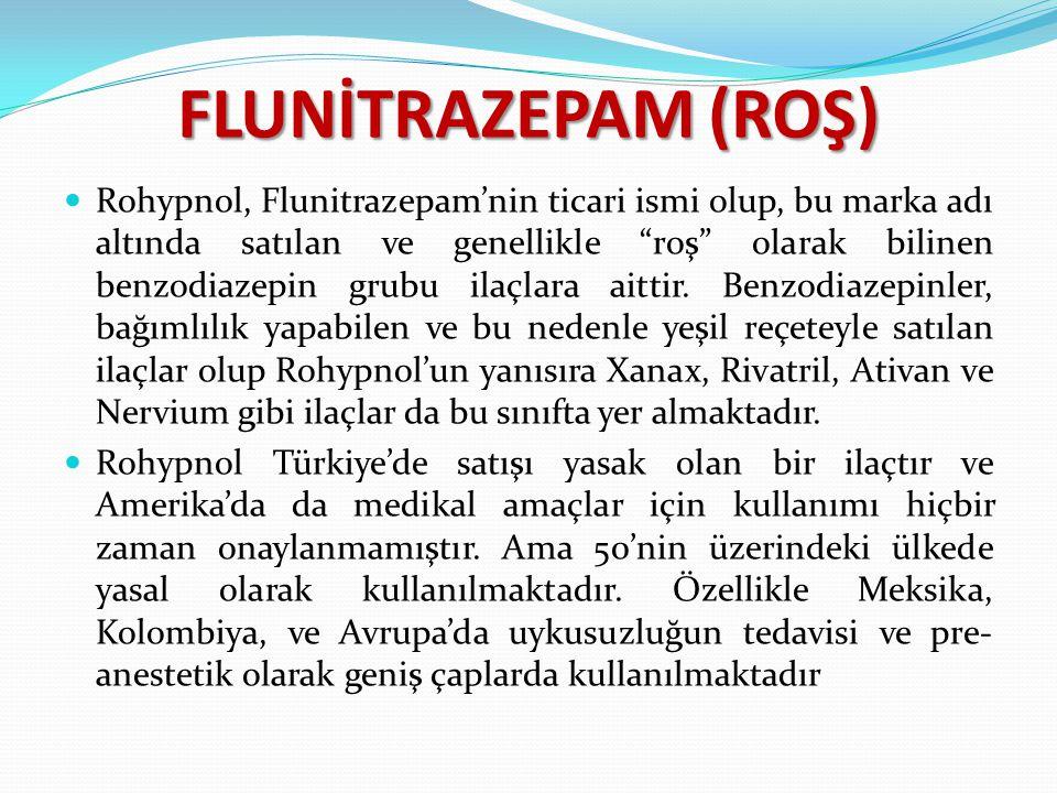 """FLUNİTRAZEPAM (ROŞ) Rohypnol, Flunitrazepam'nin ticari ismi olup, bu marka adı altında satılan ve genellikle """"roş"""" olarak bilinen benzodiazepin grubu"""