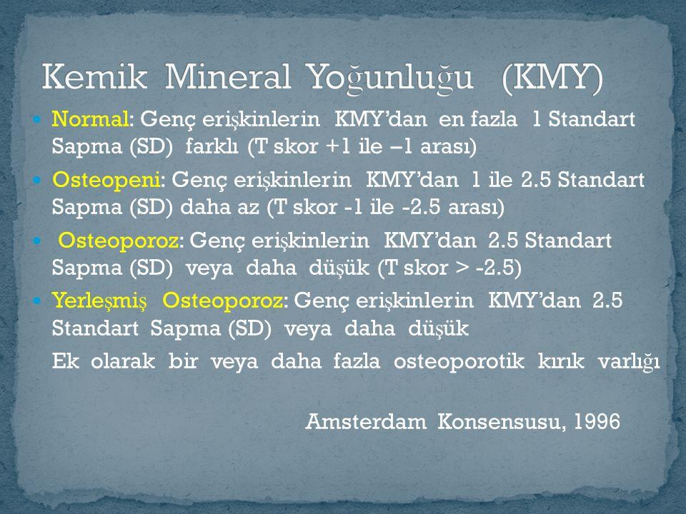 Normal: Genç eri ş kinlerin KMY'dan en fazla 1 Standart Sapma (SD) farklı (T skor +1 ile –1 arası) Osteopeni: Genç eri ş kinlerin KMY'dan 1 ile 2.5 Standart Sapma (SD) daha az (T skor -1 ile -2.5 arası) Osteoporoz: Genç eri ş kinlerin KMY'dan 2.5 Standart Sapma (SD) veya daha dü ş ük (T skor > -2.5) Yerle ş mi ş Osteoporoz: Genç eri ş kinlerin KMY'dan 2.5 Standart Sapma (SD) veya daha dü ş ük Ek olarak bir veya daha fazla osteoporotik kırık varlı ğ ı Amsterdam Konsensusu, 1996