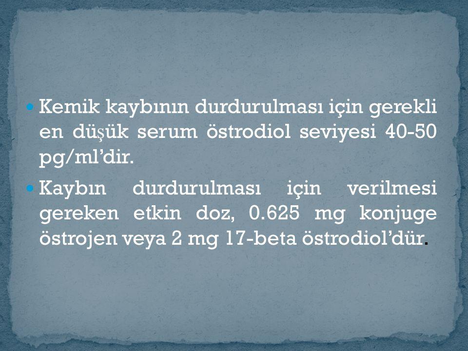 Kemik kaybının durdurulması için gerekli en dü ş ük serum östrodiol seviyesi 40-50 pg/ml'dir. Kaybın durdurulması için verilmesi gereken etkin doz, 0.