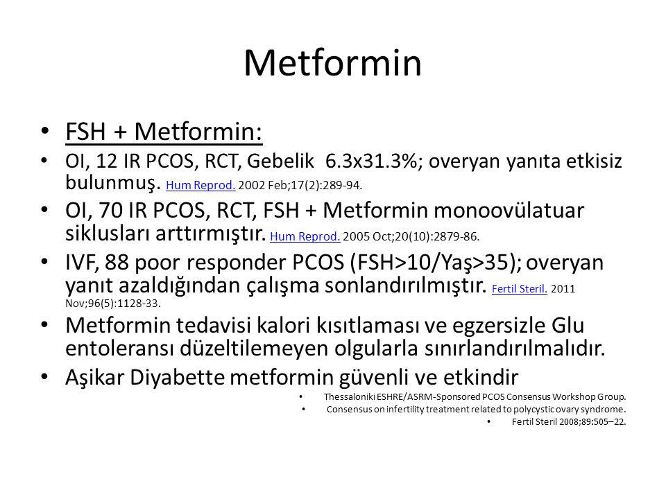 Metformin FSH + Metformin: OI, 12 IR PCOS, RCT, Gebelik 6.3x31.3%; overyan yanıta etkisiz bulunmuş. Hum Reprod. 2002 Feb;17(2):289-94. Hum Reprod. OI,
