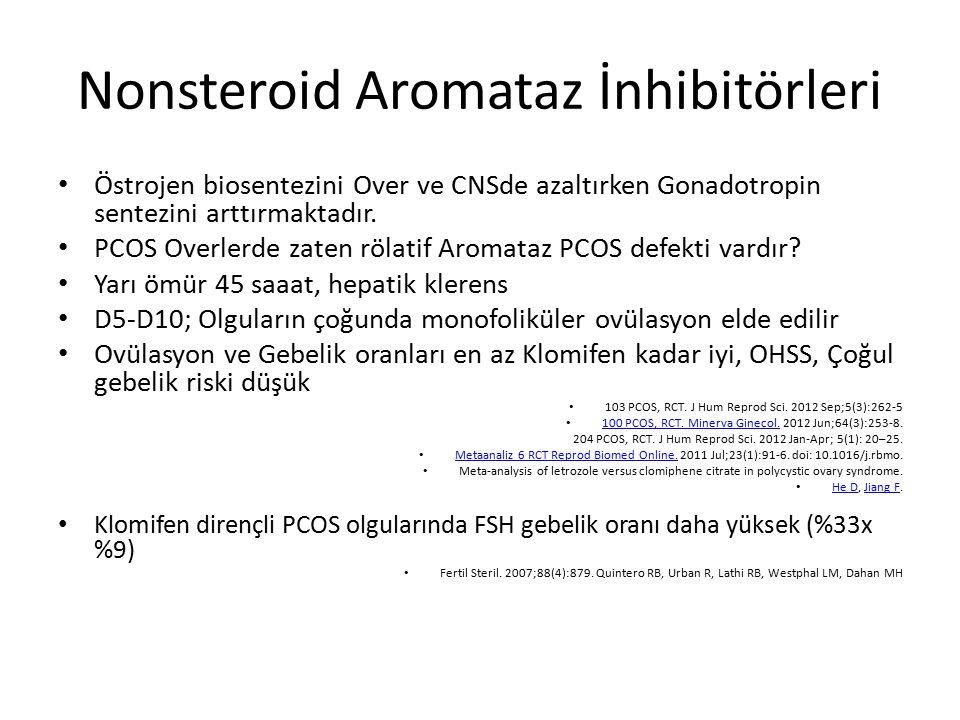 Nonsteroid Aromataz İnhibitörleri Östrojen biosentezini Over ve CNSde azaltırken Gonadotropin sentezini arttırmaktadır. PCOS Overlerde zaten rölatif A