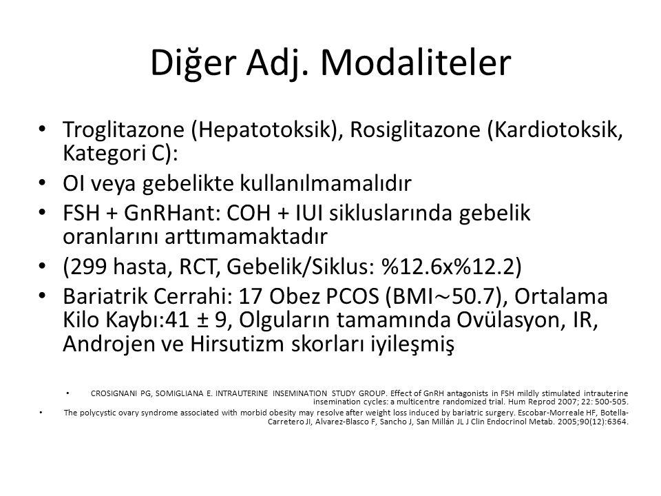 Diğer Adj. Modaliteler Troglitazone (Hepatotoksik), Rosiglitazone (Kardiotoksik, Kategori C): OI veya gebelikte kullanılmamalıdır FSH + GnRHant: COH +