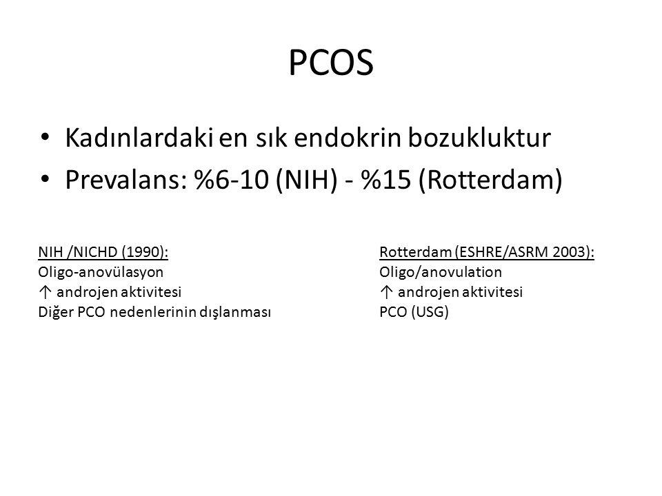 PCOS Kadınlardaki en sık endokrin bozukluktur Prevalans: %6-10 (NIH) - %15 (Rotterdam) NIH /NICHD (1990): Oligo-anovülasyon ↑ androjen aktivitesi Diğe