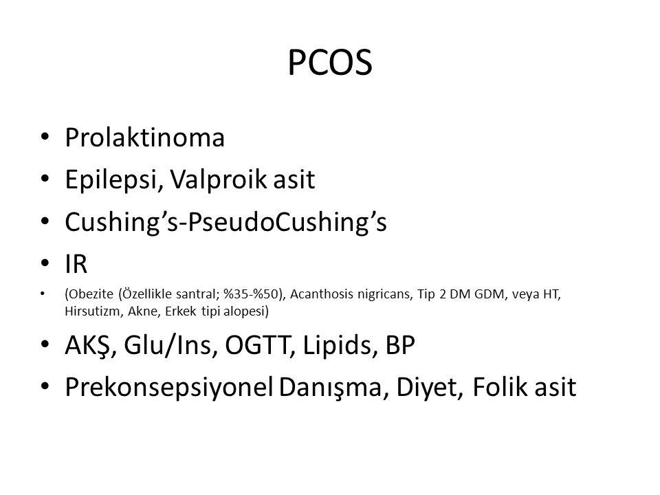 PCOS Prolaktinoma Epilepsi, Valproik asit Cushing's-PseudoCushing's IR (Obezite (Özellikle santral; %35-%50), Acanthosis nigricans, Tip 2 DM GDM, veya