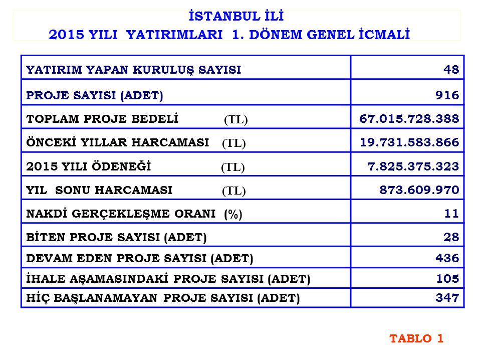 İSTANBUL İLİ 2015 YILI YATIRIMLARI 1.