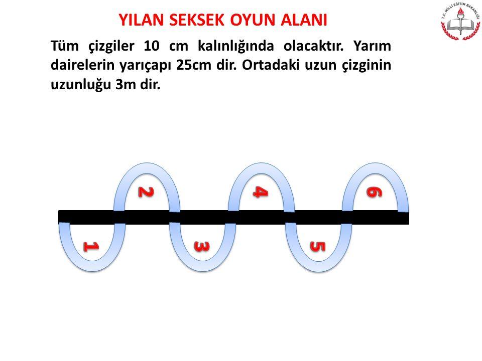 ONLU SEKSEK OYUN ALANI Her kare 50X50 cm dir. Çizgi kalınlıkları 5 cm dir.