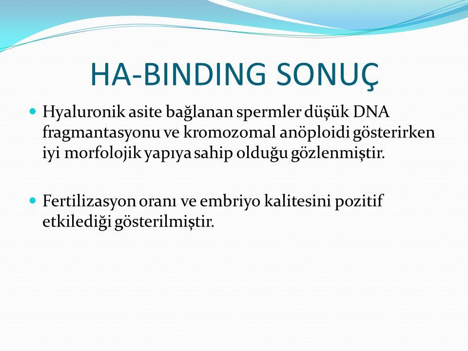 HA-BINDING SONUÇ Hyaluronik asite bağlanan spermler düşük DNA fragmantasyonu ve kromozomal anöploidi gösterirken iyi morfolojik yapıya sahip olduğu gözlenmiştir.