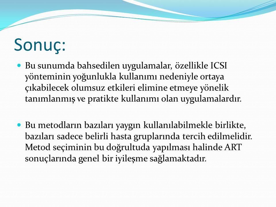 Sonuç: Bu sunumda bahsedilen uygulamalar, özellikle ICSI yönteminin yoğunlukla kullanımı nedeniyle ortaya çıkabilecek olumsuz etkileri elimine etmeye yönelik tanımlanmış ve pratikte kullanımı olan uygulamalardır.