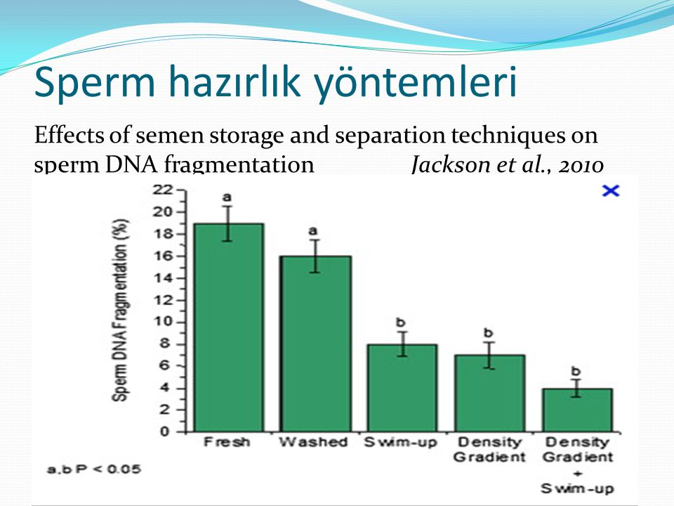Effects of semen storage and separation techniques on sperm DNA fragmentation Jackson et al., 2010 Sperm hazırlık yöntemleri