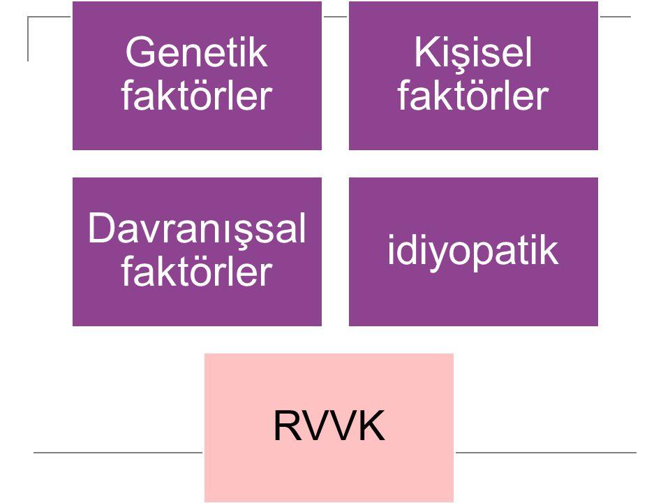 Genetik faktörler Kişisel faktörler Davranışsal faktörler idiyopatik RVVK