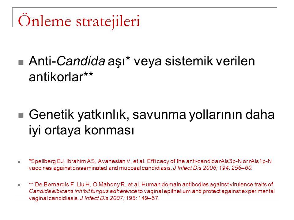 Önleme stratejileri Anti-Candida aşı* veya sistemik verilen antikorlar** Genetik yatkınlık, savunma yollarının daha iyi ortaya konması *Spellberg BJ, Ibrahim AS, Avanesian V, et al.