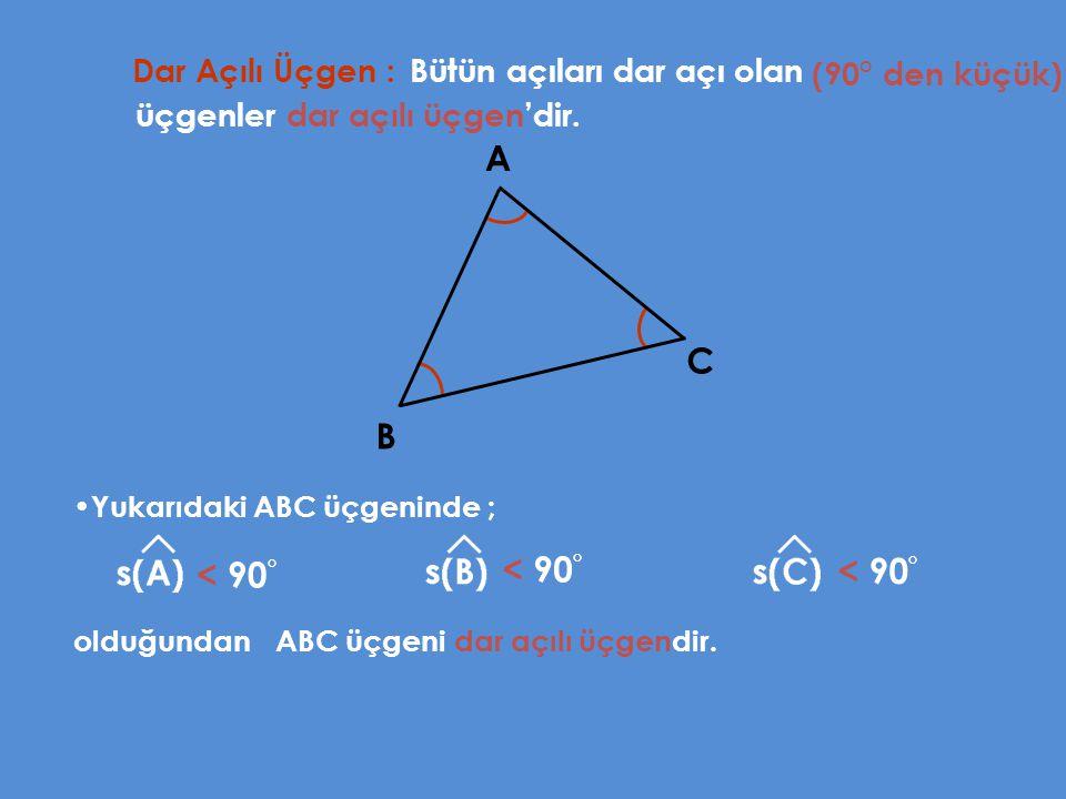 Dar Açılı Üçgen : Bütün açıları dar açı olan A B C Yukarıdaki ABC üçgeninde ; (90° den küçük) üçgenler dar açılı üçgen'dir. < 90 ° < 90 ° < 90 ° olduğ